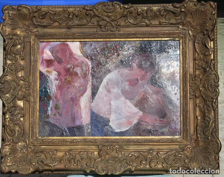 Arte: Oleo sobre lienzo -Muchachas en el jardín- por Joan Beltran Bofill [1939-2009] - Foto 2 - 194513252