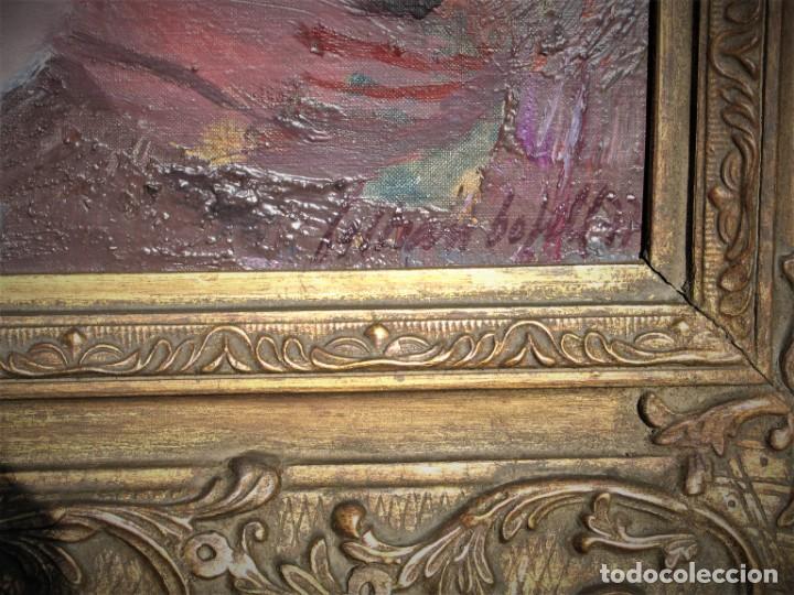 Arte: Oleo sobre lienzo -Muchachas en el jardín- por Joan Beltran Bofill [1939-2009] - Foto 4 - 194513252
