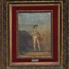 Arte: OLEO SOBRE TABLA -TORERO - POR EUGENIO LUCAS VILLAAMIL 1858-1919. Lote 194514252