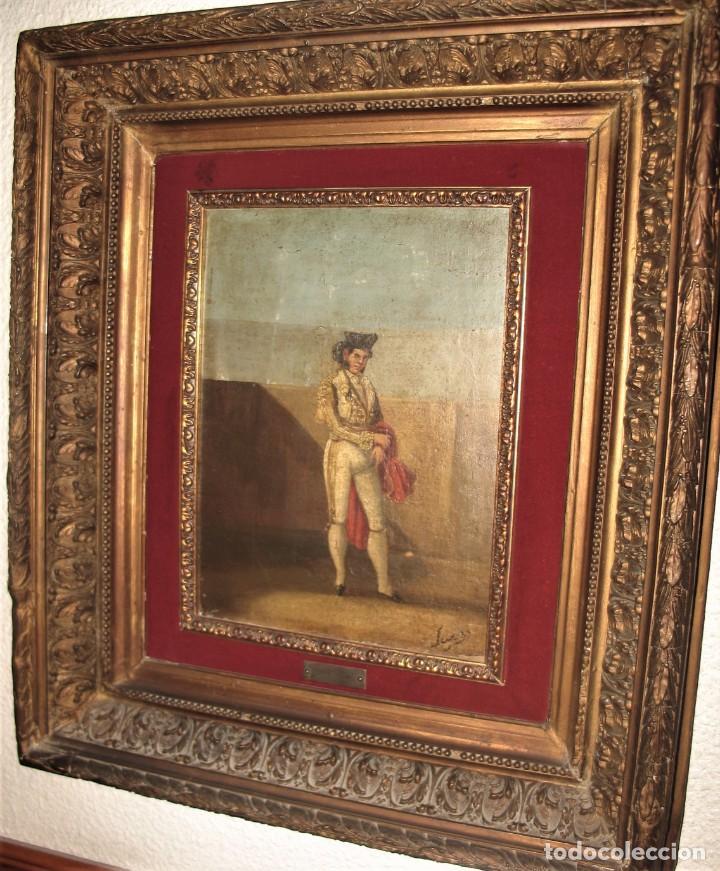 Arte: Oleo sobre tabla -Torero - por Eugenio Lucas Villaamil 1858-1919 - Foto 3 - 194514252