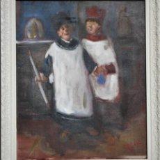 Arte: PINTURA AL OLEO SOBRE LIENZO -MONAGUILLOS- POR MANUEL FERNÁNDEZ LUQUE (ÉCIJA 1919 - VALENCIA 2005). Lote 194515173