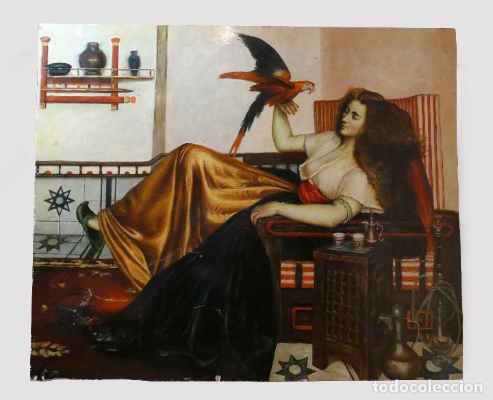 PINTURA DE MUJER CON LORO AL OLEO SOBRE TABLA, FIRMADO (Arte - Pintura - Pintura al Óleo Contemporánea )