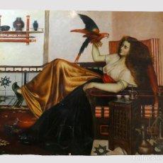 Arte: PINTURA DE MUJER CON LORO AL OLEO SOBRE TABLA, FIRMADO. Lote 194520928
