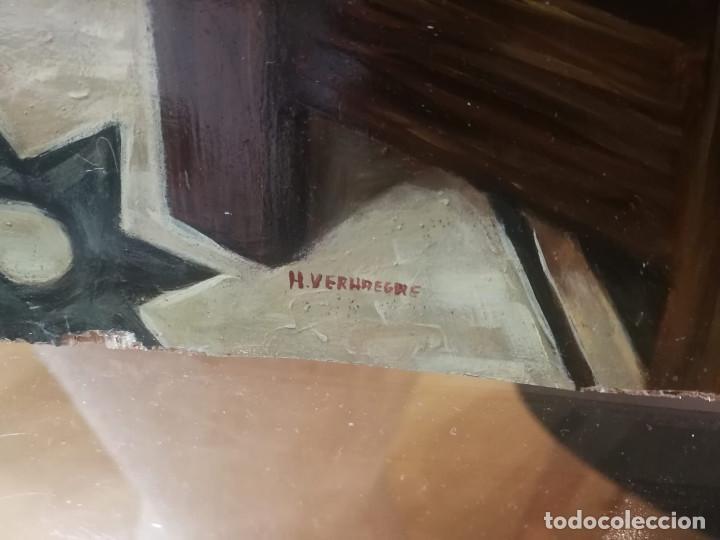 Arte: Pintura de mujer con loro al Oleo sobre tabla, firmado - Foto 2 - 194520928