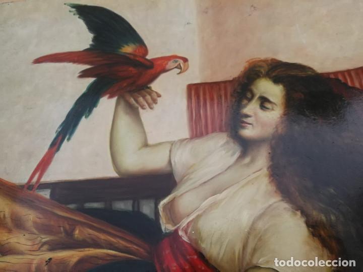Arte: Pintura de mujer con loro al Oleo sobre tabla, firmado - Foto 3 - 194520928