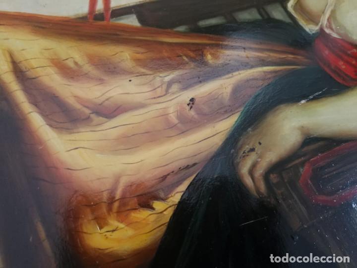 Arte: Pintura de mujer con loro al Oleo sobre tabla, firmado - Foto 10 - 194520928