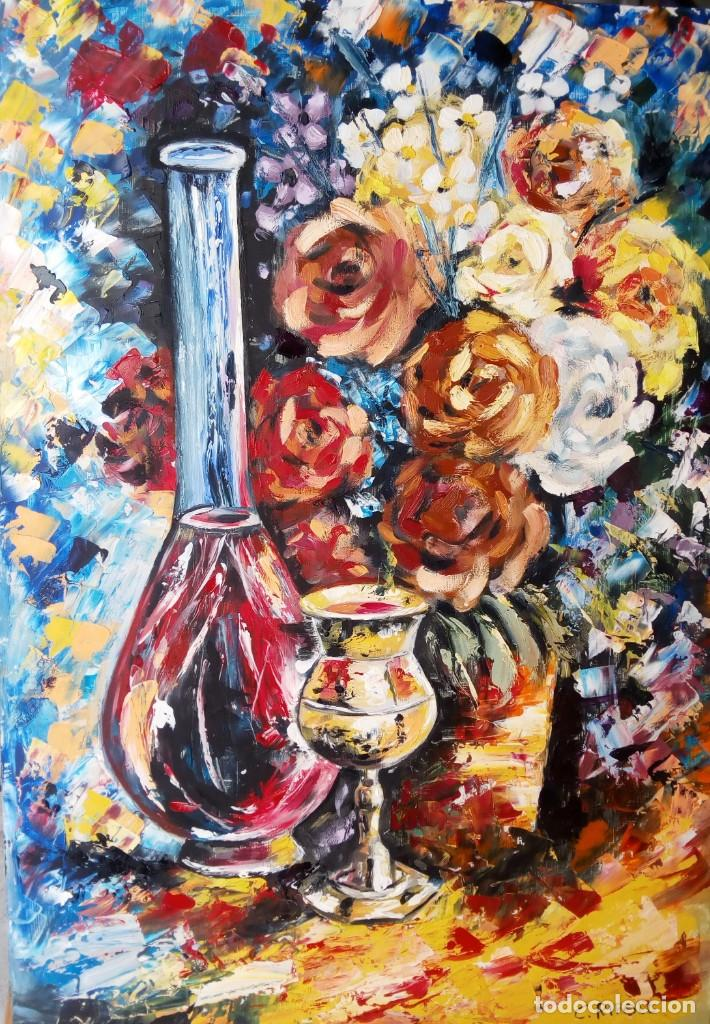 LICOR Y FLORES (Arte - Pintura - Pintura al Óleo Moderna sin fecha definida)