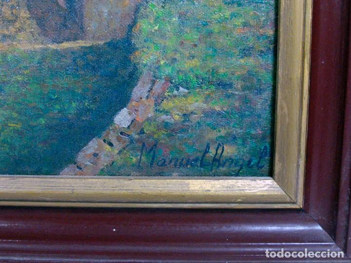 Arte: ANTIGUO OLEO SOBRE LIENZO. PAISAJE DE ASTURIAS. TEITOS EN UNA BRAÑA. FIRMADO MANUEL ANGEL. ENMARCADO - Foto 4 - 194527136