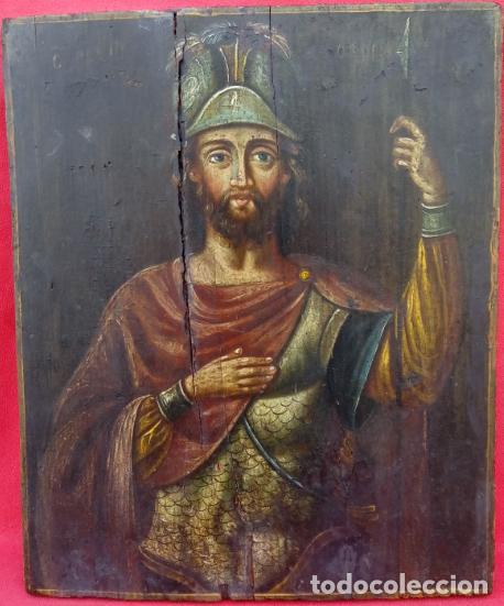 TÉMPERA SOBRE MADERA -SAN LONGINOS-. ICONO RUSO SIGLO XVII. DIM.- 31.5X26 CMS. 2 CMS GROSOR. (Arte - Pintura - Pintura al Óleo Antigua siglo XVII)