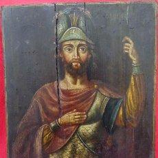 Arte: TÉMPERA SOBRE MADERA -SAN LONGINOS-. ICONO RUSO SIGLO XVII. DIM.- 31.5X26 CMS. 2 CMS GROSOR. . Lote 194527478
