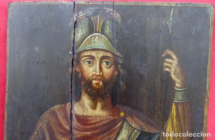 Arte: TÉMPERA SOBRE MADERA -SAN LONGINOS-. ICONO RUSO SIGLO XVII. DIM.- 31.5X26 CMS. 2 CMS GROSOR. - Foto 2 - 194527478