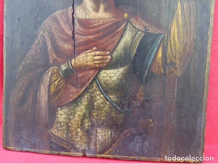 Arte: TÉMPERA SOBRE MADERA -SAN LONGINOS-. ICONO RUSO SIGLO XVII. DIM.- 31.5X26 CMS. 2 CMS GROSOR. - Foto 3 - 194527478
