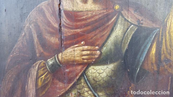 Arte: TÉMPERA SOBRE MADERA -SAN LONGINOS-. ICONO RUSO SIGLO XVII. DIM.- 31.5X26 CMS. 2 CMS GROSOR. - Foto 6 - 194527478