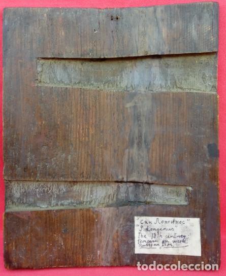 Arte: TÉMPERA SOBRE MADERA -SAN LONGINOS-. ICONO RUSO SIGLO XVII. DIM.- 31.5X26 CMS. 2 CMS GROSOR. - Foto 8 - 194527478