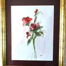 Arte: ROSAS ROJAS MERCEDES SOS ACUARELA. Lote 194530957