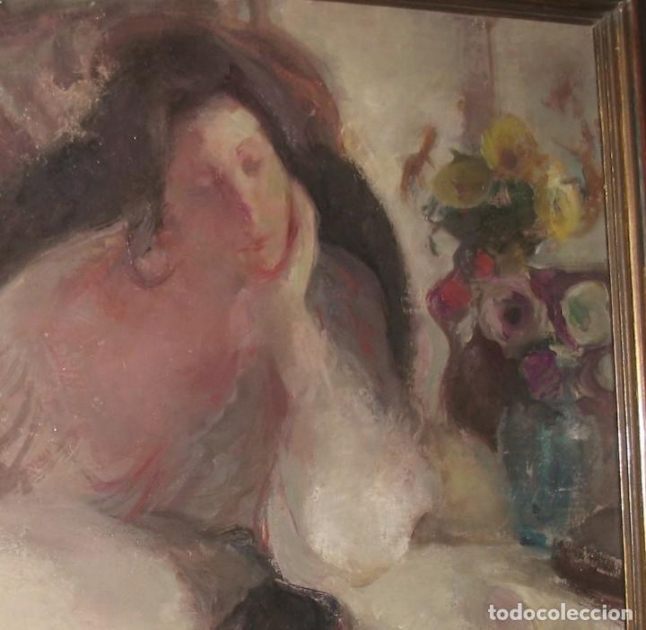Arte: Oleo sobre lienzo -Mujer con bastidor- Por Joan Beltarn Bofill [1939-2009] - Foto 5 - 194512252