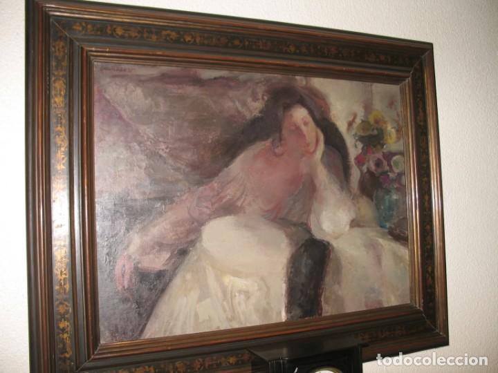 Arte: Oleo sobre lienzo -Mujer con bastidor- Por Joan Beltarn Bofill [1939-2009] - Foto 2 - 194512252