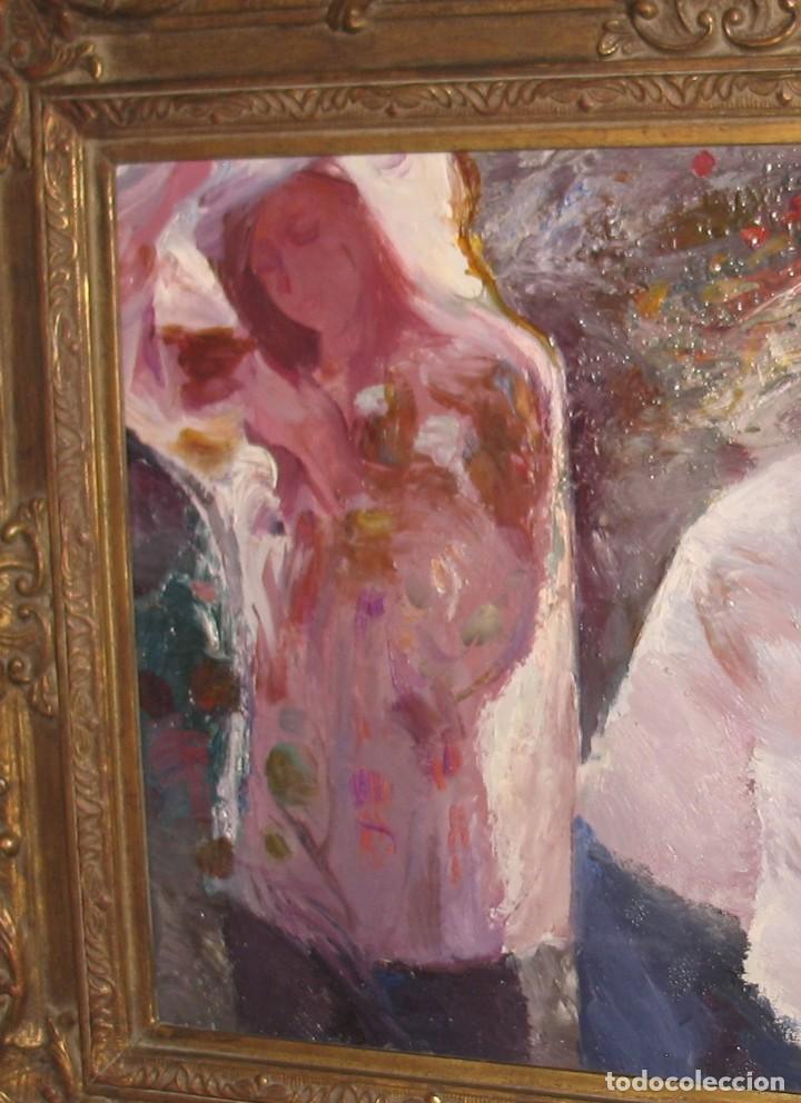 Arte: Oleo sobre lienzo -Muchachas en el jardín- por Joan Beltran Bofill [1939-2009] - Foto 3 - 194513252