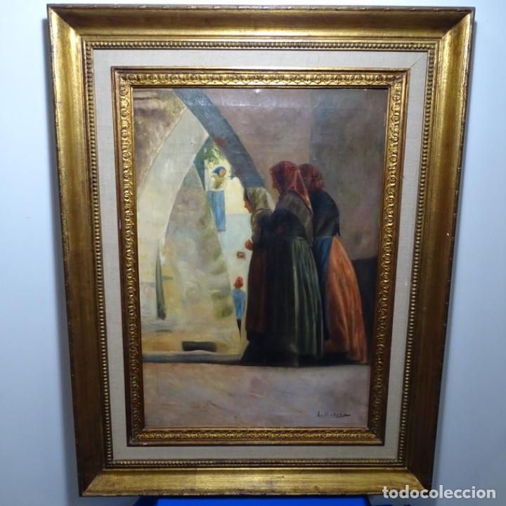 Arte: Óleo sobre tela de laurea barrau(bcn 1863-Ibiza 1957).ibicencas Espiando a los enamorados. - Foto 2 - 194556290