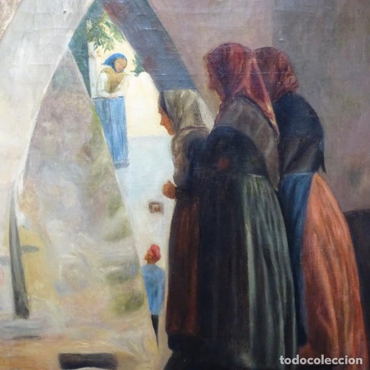 Arte: Óleo sobre tela de laurea barrau(bcn 1863-Ibiza 1957).ibicencas Espiando a los enamorados. - Foto 3 - 194556290