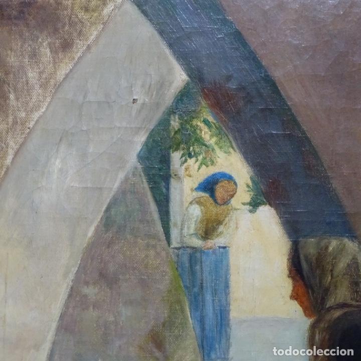 Arte: Óleo sobre tela de laurea barrau(bcn 1863-Ibiza 1957).ibicencas Espiando a los enamorados. - Foto 4 - 194556290