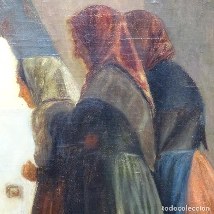 Arte: Óleo sobre tela de laurea barrau(bcn 1863-Ibiza 1957).ibicencas Espiando a los enamorados. - Foto 5 - 194556290