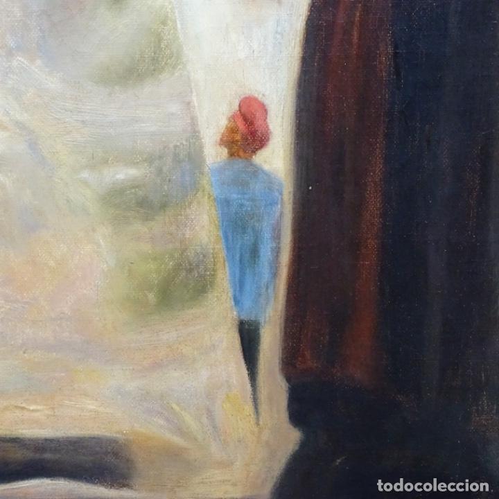Arte: Óleo sobre tela de laurea barrau(bcn 1863-Ibiza 1957).ibicencas Espiando a los enamorados. - Foto 6 - 194556290