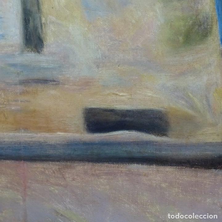 Arte: Óleo sobre tela de laurea barrau(bcn 1863-Ibiza 1957).ibicencas Espiando a los enamorados. - Foto 7 - 194556290