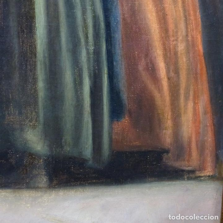 Arte: Óleo sobre tela de laurea barrau(bcn 1863-Ibiza 1957).ibicencas Espiando a los enamorados. - Foto 8 - 194556290