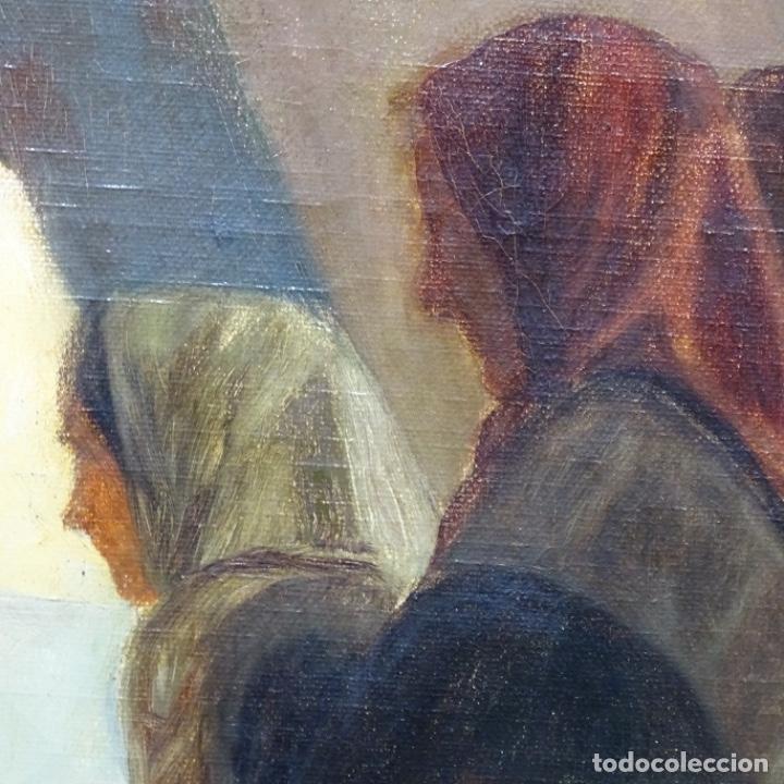 Arte: Óleo sobre tela de laurea barrau(bcn 1863-Ibiza 1957).ibicencas Espiando a los enamorados. - Foto 9 - 194556290