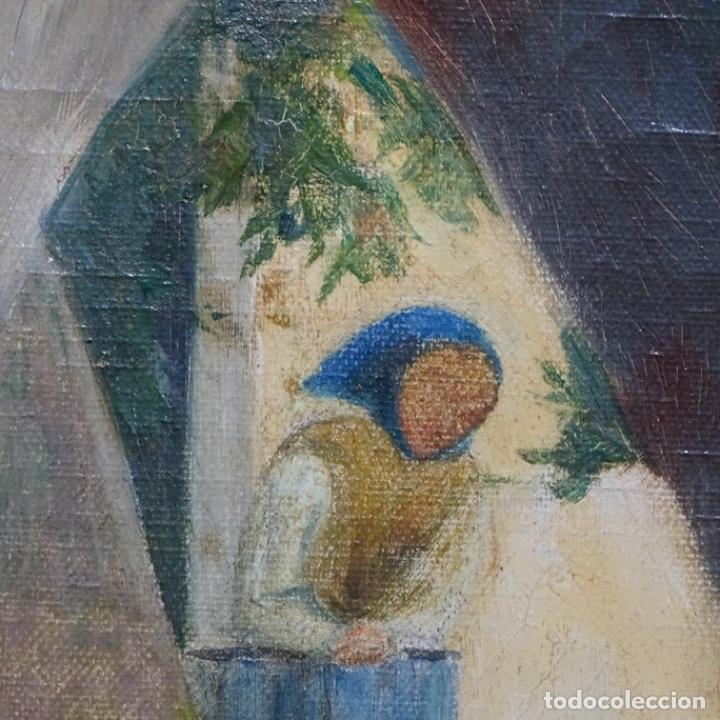 Arte: Óleo sobre tela de laurea barrau(bcn 1863-Ibiza 1957).ibicencas Espiando a los enamorados. - Foto 11 - 194556290