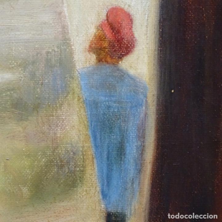 Arte: Óleo sobre tela de laurea barrau(bcn 1863-Ibiza 1957).ibicencas Espiando a los enamorados. - Foto 12 - 194556290