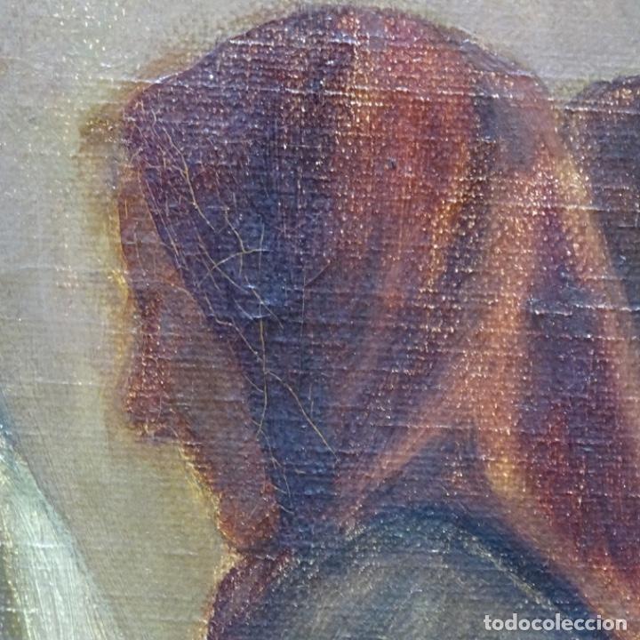 Arte: Óleo sobre tela de laurea barrau(bcn 1863-Ibiza 1957).ibicencas Espiando a los enamorados. - Foto 14 - 194556290