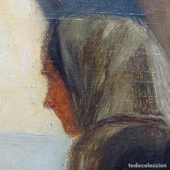Arte: Óleo sobre tela de laurea barrau(bcn 1863-Ibiza 1957).ibicencas Espiando a los enamorados. - Foto 15 - 194556290