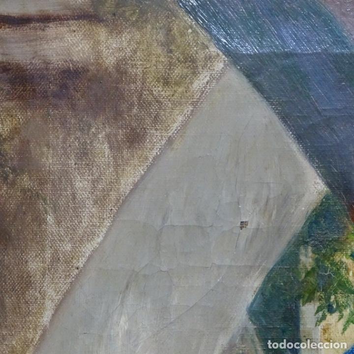 Arte: Óleo sobre tela de laurea barrau(bcn 1863-Ibiza 1957).ibicencas Espiando a los enamorados. - Foto 18 - 194556290