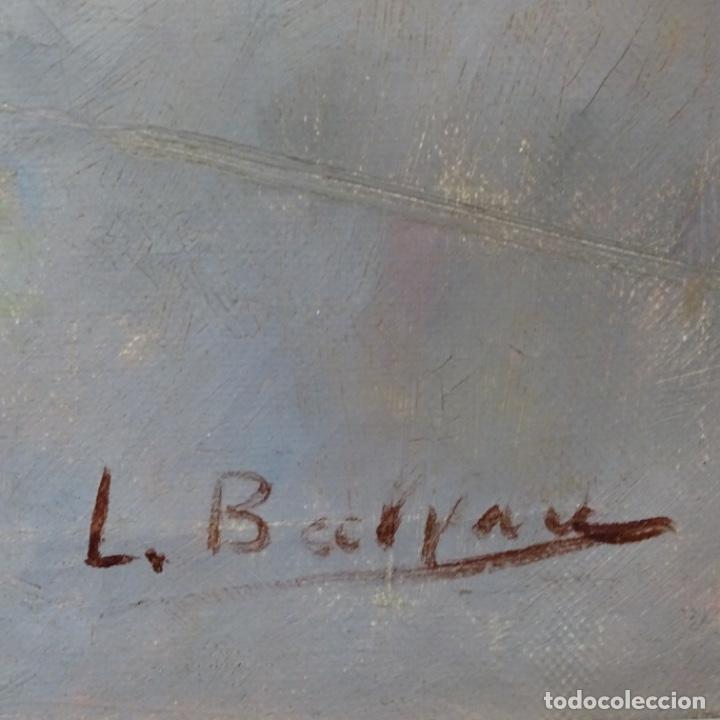 Arte: Óleo sobre tela de laurea barrau(bcn 1863-Ibiza 1957).ibicencas Espiando a los enamorados. - Foto 19 - 194556290