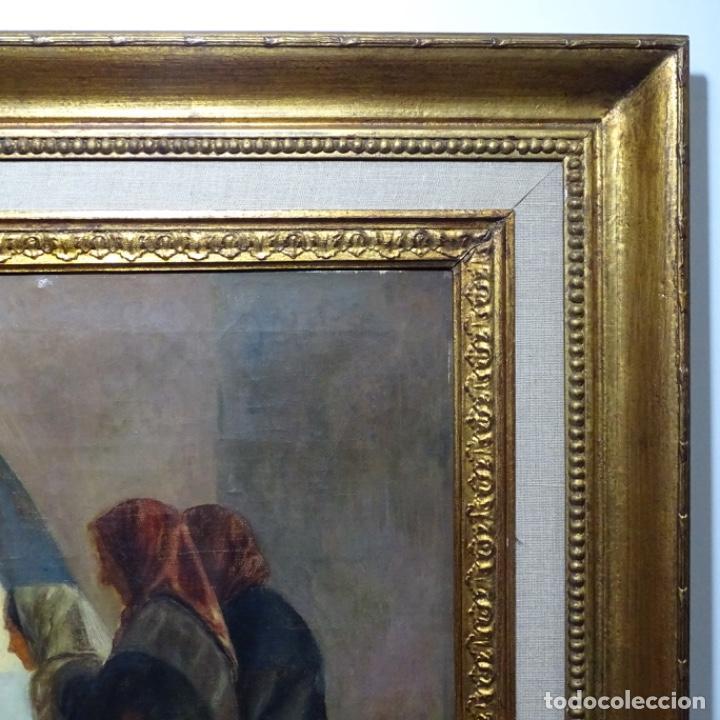Arte: Óleo sobre tela de laurea barrau(bcn 1863-Ibiza 1957).ibicencas Espiando a los enamorados. - Foto 20 - 194556290