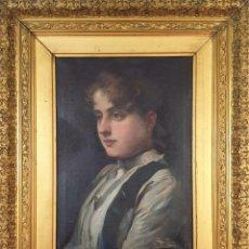 Arte: RETRATO DE JOVEN. ÓLEO SOBRE LIENZO. JOSEP CUCHY ARNAU. 1889.. Lote 194581593