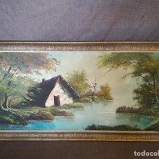 Arte: ÓLEO SOBRE TABLA, ENMARCADO EN MADERA, PAISAJE RURAL, RÍO, CABAÑA, FIRMADO, 110 X 60 CMS.. Lote 194591960