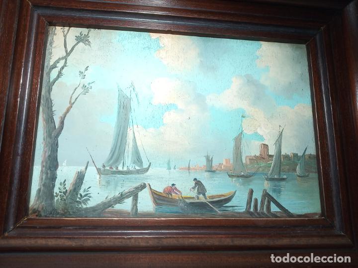 Arte: Bella tabla al oleo. Escena marítima de pescadores faenando. Veleros junto ciudad. Firmado. - Foto 2 - 194624325