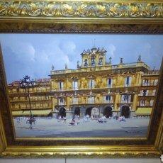 Arte: GRAN CUADRO OLEO SOBRE LIENZO,FIRMADO.78X70 CM PLAZA DE MAYOR DE SALAMANCA.. Lote 194627891