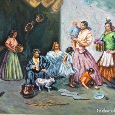Arte: CUADRO AL ÓLEO SOBRE LIENZO. ESCENA COSTUMBRISTA. FIRMADO Y ENMARCADO. VER FOTOS.. Lote 194638481
