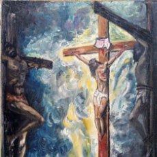 Arte: CUADRO AL ÓLEO SOBRE LIENZO. CRISTO CRUCIFICADO. FIRMADO P. SILVA. AÑO 1972.. Lote 194638638