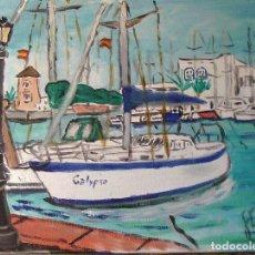 Arte: ALMERIMAR ,EL CALYPSO Y CLUB NAUTICO,ÓLEO LIENZO EN BASTIDOR,40X50 CM. DE CRESPO. Lote 194648287