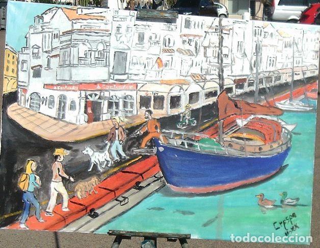 ALMERIMAR, BARCO EN LA DÁRSENA 3,ÓLEO EN LIENZO CON BASTIDOR,50X60 CM. DE CRESPO (Arte - Pintura - Pintura al Óleo Contemporánea )