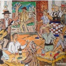 Arte: ESTAMPAS ANDALUZAS.-BODEGA ALPUJARREÑA,ÓLEO LIENZO EN BASTIDOR,40X50 CM. DE CRESPO. Lote 194648372