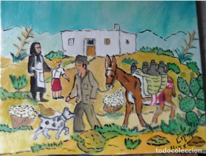 ESTAMPAS ANDALUZAS:ACEITERO CAMINO DEL PUEBLO,ÓLEO SOBRE LIENZO EN BASTIDOR ,40X50 CM.DE CRESPO (Arte - Pintura - Pintura al Óleo Contemporánea )