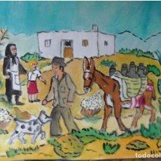 Arte: ESTAMPAS ANDALUZAS:ACEITERO CAMINO DEL PUEBLO,ÓLEO SOBRE LIENZO EN BASTIDOR ,40X50 CM.DE CRESPO. Lote 194648410