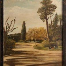 Arte: ÓLEO SOBRE LIENZO ENMARCADO Y FIRMADO , PARQUE DE LA CIUDADELA BARCELONA .. Lote 194660508