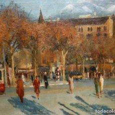 Arte: NARCIS GALIA I ADELL (TORTOSA, 1925) OLEO TELA DE LOS AÑOS 60. PLAZA KENNEDY BARCELONA. 81 X 100 CM.. Lote 194660717
